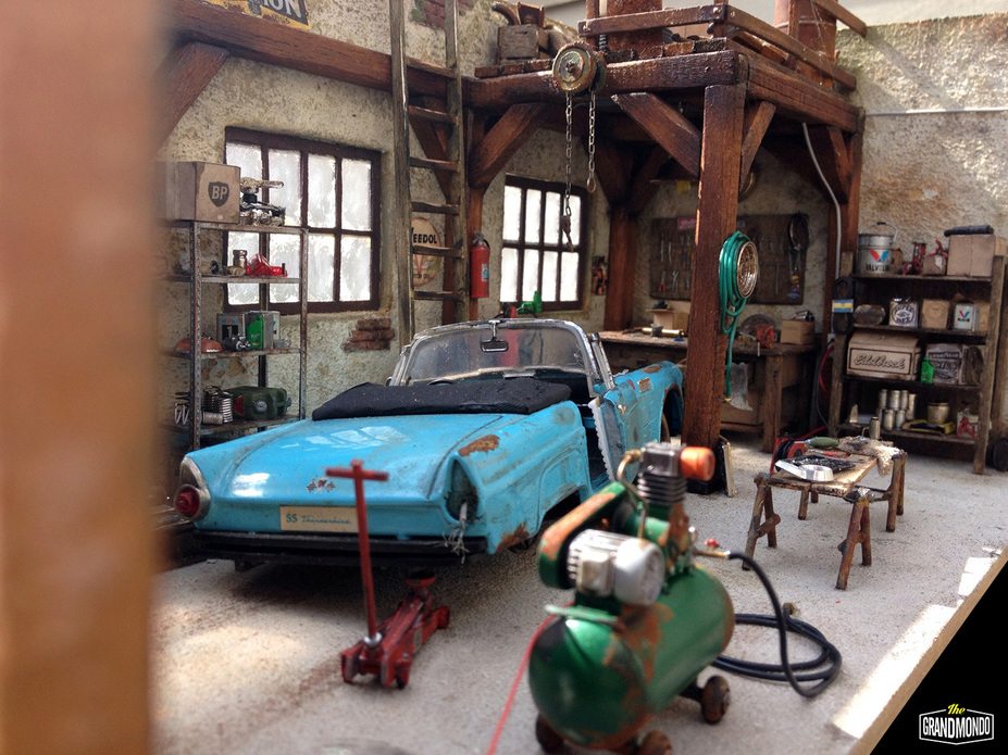 BarnGarage Diorama Ford Thunderbird 1955 Small 3