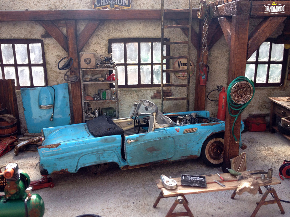 BarnGarage Diorama Ford Thunderbird 1955 Small 10