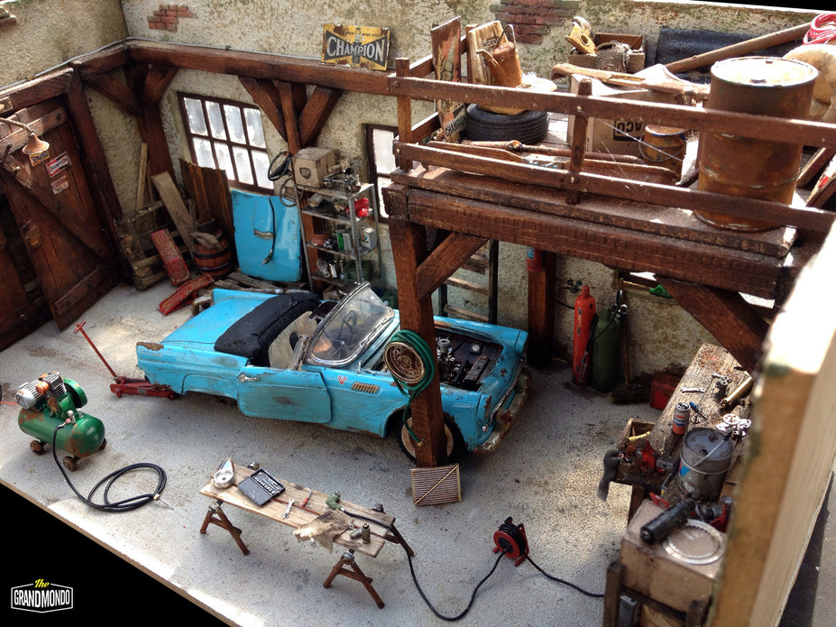 BarnGarage Diorama Ford Thunderbird 1955 Small 14