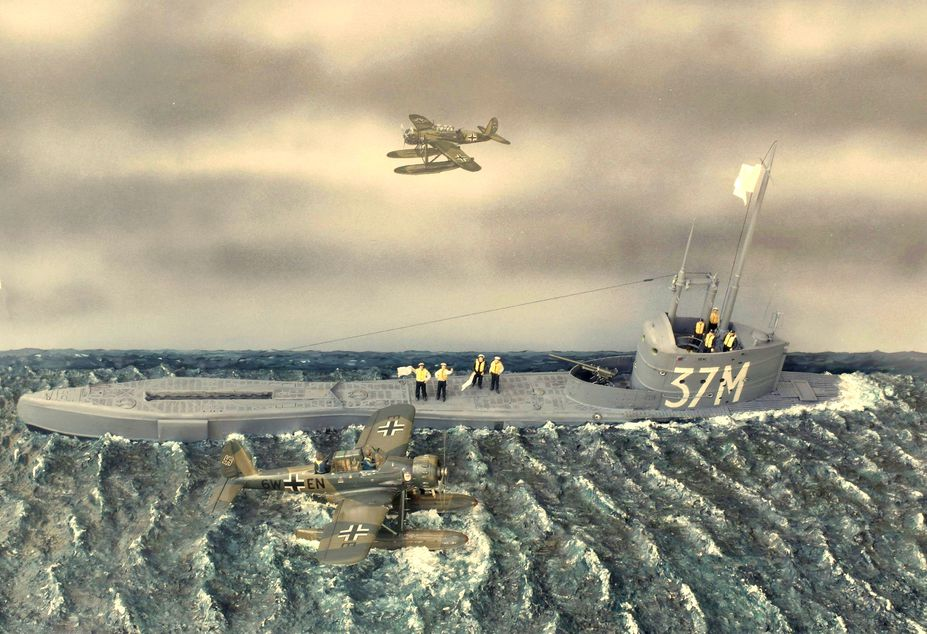 HMS SEAL surrender to two German Ar196 planes in May 1940