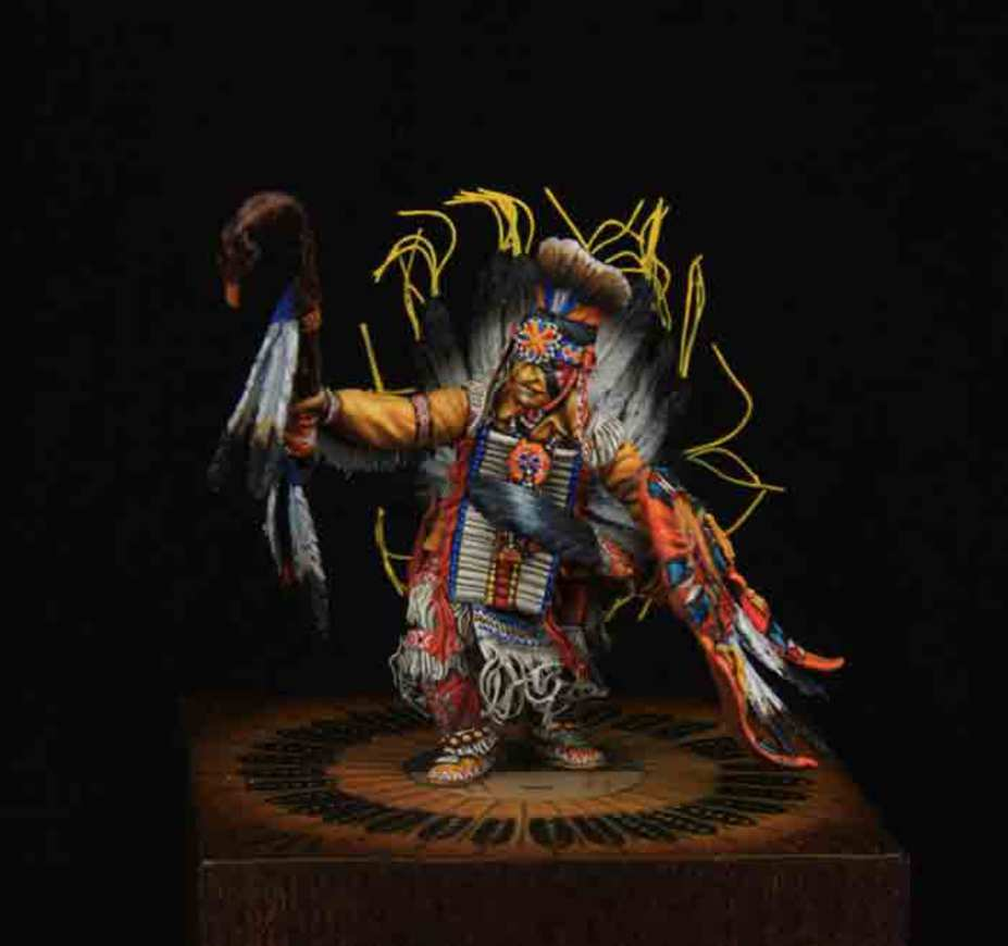 Pow Wow Dancer 32 mm at the eye line figurine made for a private colle
