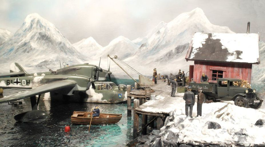 BV138 seaplane refueling at a North Norwegian fishing community 1944